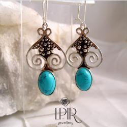 Kolczyki srebrne z turkusami - Kolczyki - Biżuteria