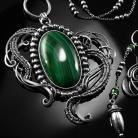 Naszyjniki srebrny,naszjnik,wire-wrapping,malachit,szmaragdy