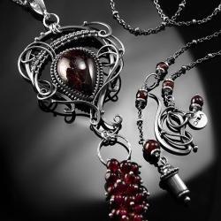 srebrny,naszyjnik,wire-wrapping,granat,ciba,bordo - Naszyjniki - Biżuteria