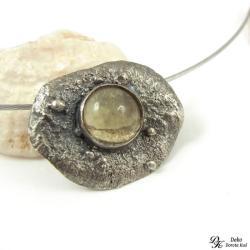 wisiorek,topaz,surowe srebro,topione,żółty - Wisiory - Biżuteria