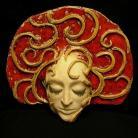 Ceramika i szkło czerwień,twarz,maska