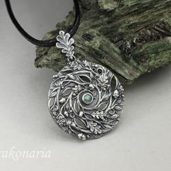 spirala,dębowe,liście,las,natura,labradoryt - Wisiory - Biżuteria