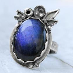niebieski labradoryt,granatowy pierścionek - Pierścionki - Biżuteria