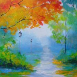jesień,pomarńcz,żółty,zieleń,niebieski,park - Obrazy - Wyposażenie wnętrz