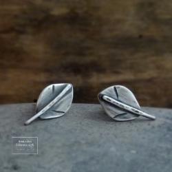 srebro,minimalizm,listki,liście,liść,oksydowane, - Kolczyki - Biżuteria