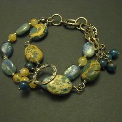 bransoletkaasymetryczna oksydowana,niebieska - Breloki - Biżuteria