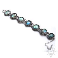 labradoryt,ogień,srebrna,bransoleta,efektowna, - Bransoletki - Biżuteria