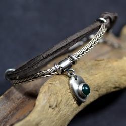 bransoleta z zielonym agatem, - Bransoletki - Biżuteria