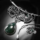 Naszyjniki srebrny,naszyjnik,ważka,agat,mszysty,ciba,zielony