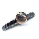 Pierścionki srebrno-złoty pierścionek z czarnym diamentem