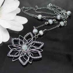 wisiorek,wire wrapping,akwamaryn,kwiatowy - Wisiory - Biżuteria