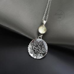 srebrny,naszyjnik,z kwarcem,z kwiatami - Naszyjniki - Biżuteria