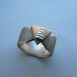 geomatryczna,srebro i złoto,nowoczesny - Pierścionki - Biżuteria