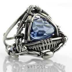 pierścionek,litori,wire-wrappping,szafirowy - Pierścionki - Biżuteria