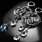 Kolczyki srebrne,kolczyki,wire-wrapping,akwamaryn,ciba