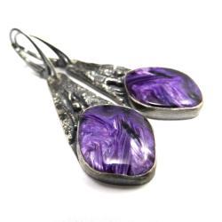 czaroit,tajemnicze,srebro,lawenda,srebrne,długie - Kolczyki - Biżuteria