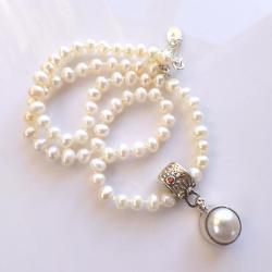 perłowy,perły,ręcznie robione,z perłą - Naszyjniki - Biżuteria