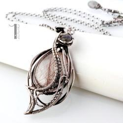 naszyjnik srebrny,labradoryt,kwarc rutylowy - Naszyjniki - Biżuteria