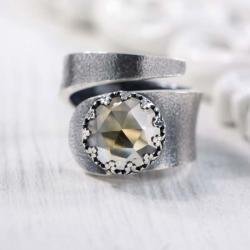 Srebrny,regulowany pierścionek z cytrynem - Pierścionki - Biżuteria