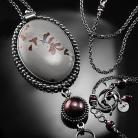 Naszyjniki srebrny,naszyjnik,wire-wrapping,jaspis,kwiatowy