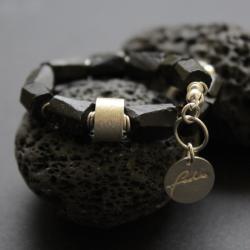 srebro,fado,bransoletka,czarny turmalin, - Bransoletki - Biżuteria