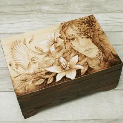 pirografia,wymalanie na drewnie,szkatułka - Pudełka - Wyposażenie wnętrz