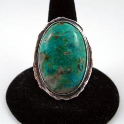Pierścień srebrny z chryzokolą - Pierścionki - Biżuteria