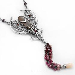 księżycowy,szafir różowy,duży naszyjnik,srebrny - Naszyjniki - Biżuteria