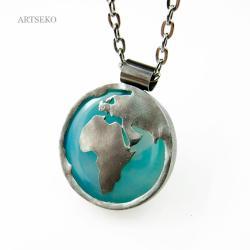 wisior,srebrny,artseko,świat,agat,nowoczesny,artse - Wisiory - Biżuteria