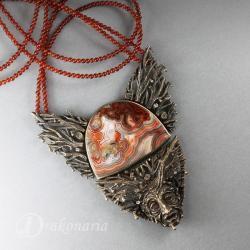 naszyjnik z agatem,twarz,karneol,granat,jesień - Naszyjniki - Biżuteria