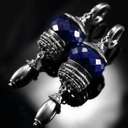 srebrne,kolczyki,wire-wrapping,szafir,szafiry,ciba - Kolczyki - Biżuteria