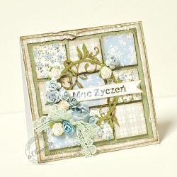 kartka,patchwork,róże - Kartki okolicznościowe - Akcesoria