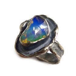 opal,blask,srebrny,srebro,zielony,tęczowy,green - Pierścionki - Biżuteria