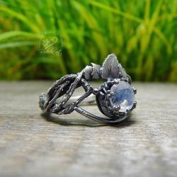 srebrny,oksydowany,romantyczny,gałązki,błękitny - Pierścionki - Biżuteria