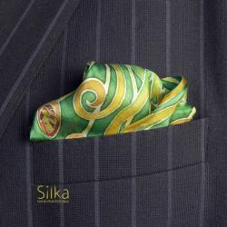 zielona jedwabna ręcznie malowana poszetka - Inne - Dodatki