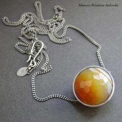 srebro,kula,agat,miodowy,minimalizm - Naszyjniki - Biżuteria