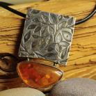 Naszyjniki srebro,bursztyn,wisior,liście,trawiony