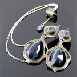 nausznica,kolczyki z miedzi,kolczyki ze szkłem - Kolczyki - Biżuteria
