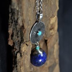 długi naszyjnik z lapis lazuli i turkusem - Naszyjniki - Biżuteria