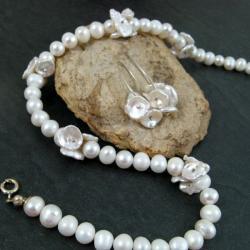 perłowy,efektowny,elegancki - Komplety - Biżuteria