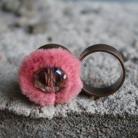Pierścionki pierścionek miedź kryształ fasetowany miękki róż
