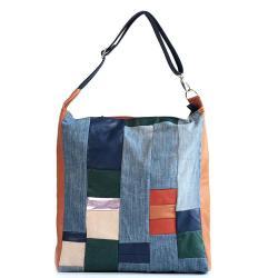 torba na zamek,skóra,dzins,na skos,kolorowa - Na ramię - Torebki