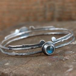 srebrna bransoleta z labradorytem - Bransoletki - Biżuteria