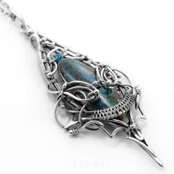 z azurytem,srebrny naszyjnik,turkusowy,duży - Naszyjniki - Biżuteria