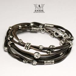 bransoleta z rzemienia,skórzana biżuteria - Bransoletki - Biżuteria