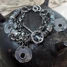 Bransoletki Srebrna bransoleta z fasetowanymi labradorytami