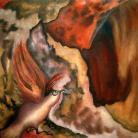 Obrazy abstrakcja,obraz,ptak,brązowy,na ścianę,dekoracja,