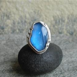 niebieski labradoryt,błękit,pierścień - Pierścionki - Biżuteria