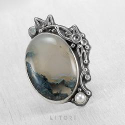 litori,handmade,pierścionek,agat,perła,srebro - Pierścionki - Biżuteria