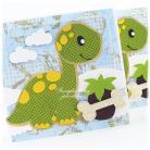 Kartki okolicznościowe dinozaur,urodziny,kość,kropki,chłopiec,chmury